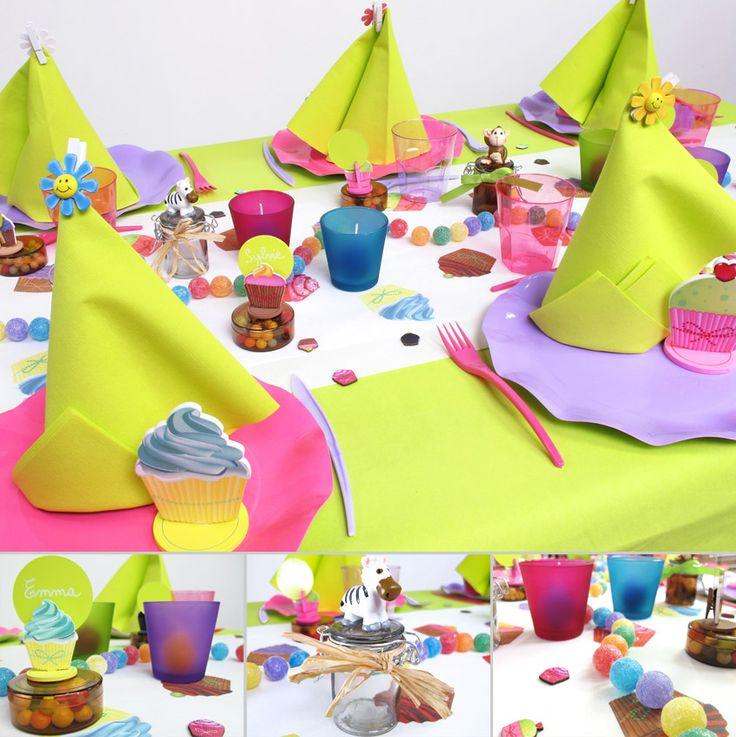 Voici une table d'anniversaire aux tons acidulés pour la joie de vos enfants !