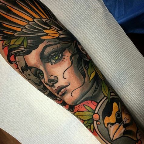 Beautiful Neo traditional by @samclarktattoos                                                                                                                                                                                 Mais