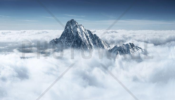 Alpine Mountain in the Clouds - Fototapeten