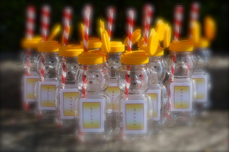 Build-A-Bear-Party - A clever way to serve the guest their drinks.  Empty honey containers.  Create your own name tag labels.  Purchase or make coordinating paper straws from etsy.