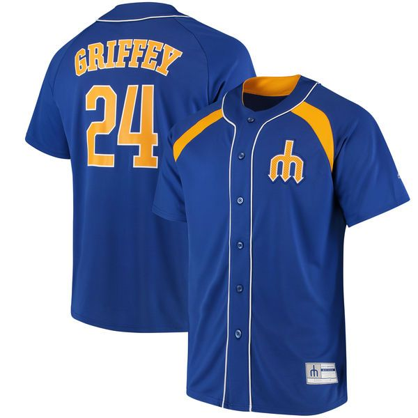 Ken Griffey Jr. Seattle Mariners Majestic Cooperstown Collection Peak Power Fashion Player Jersey - Royal/Gold - $74.99