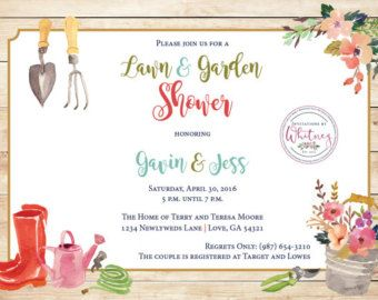 """This custom watercolor lawn and garden 5 x 7"""" invitation is sure to be a hit for any couple's wedding shower!"""