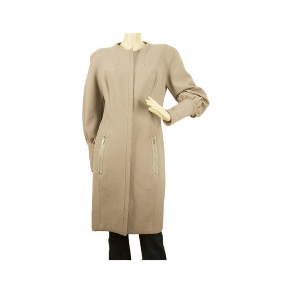 Thierry Mugler Lavender Wool Women s Padded Shoulders Fitted Knee... via Polyvore featuring outerwear, coats, thierry mugler, brown wool coat, knee length coat, brown coat and wool coat