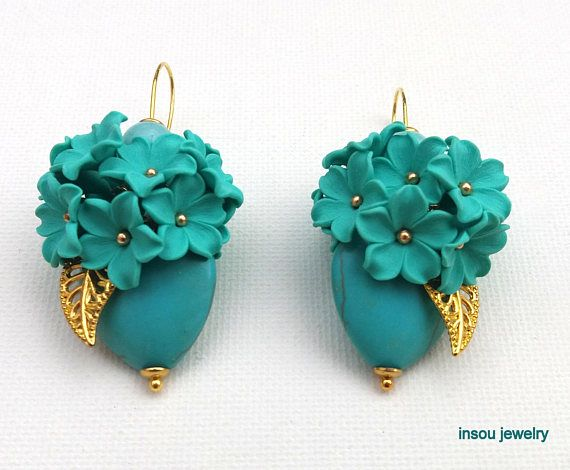 Turquoise Earrings Flower Earrings Spring Earrings Handmade