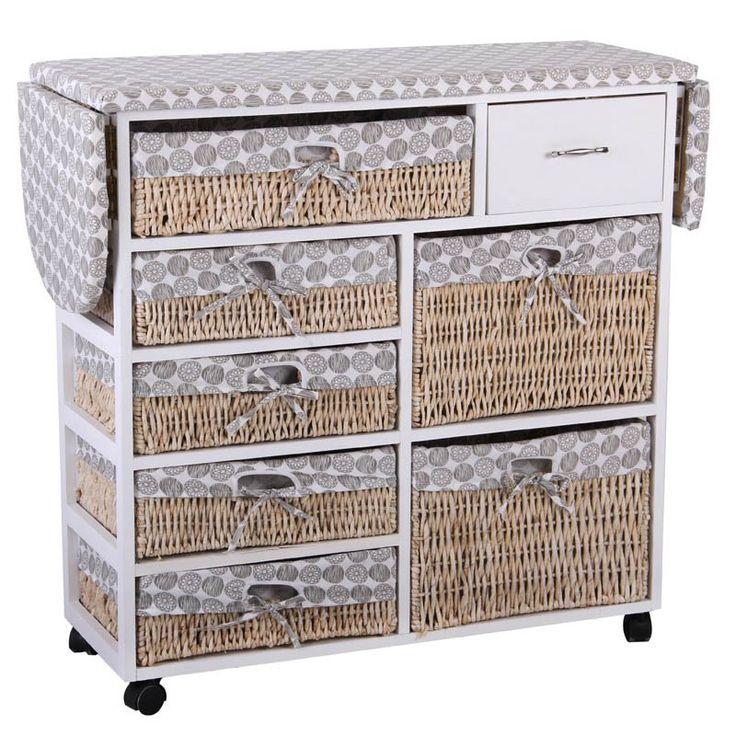 165 € Planchador de madera cuadrado con 1 cajón y 7 cestos de mimbre decorado con tela beige estampada de círculos grises