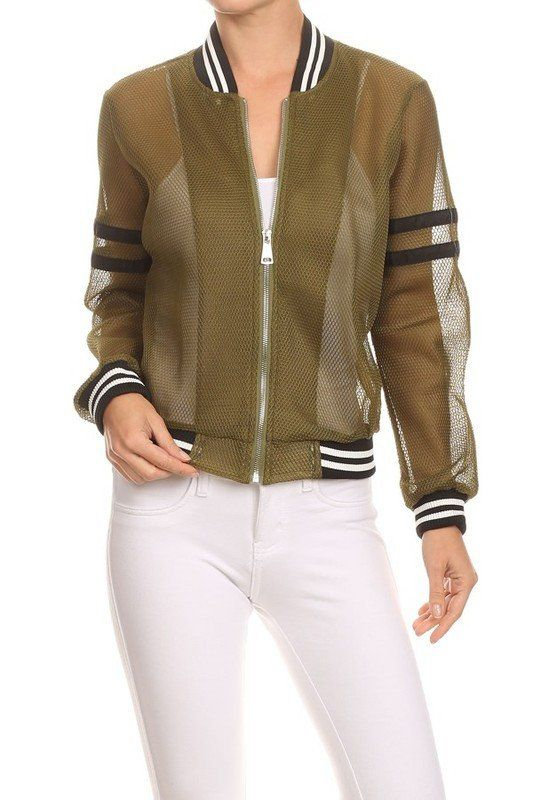 Textured long sleeve relaxed fit zip-up bomber jacket with contrast stripe trim. fits true to size.