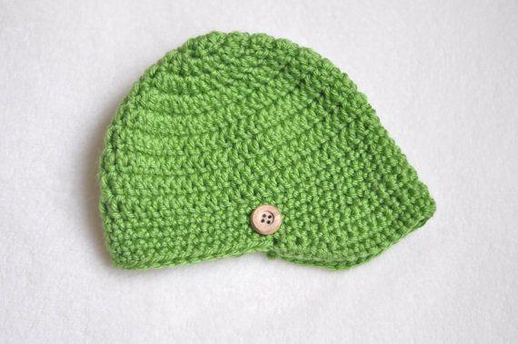 newborn hat boy, crochet newsboy hat, green baby hat