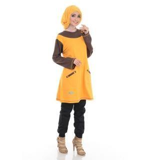 Baju Blus Tunik ALNITA AA-06 Kuning Kunyit