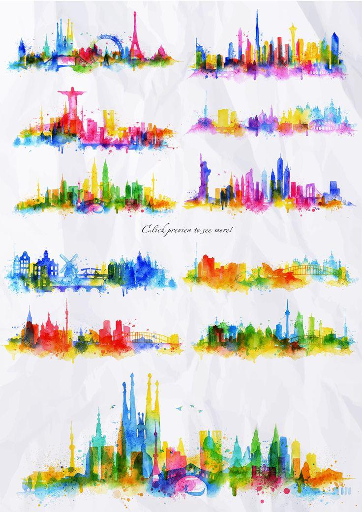 Painted cities silhouettes with splashes of watercolor drops streaks landmarks. Cities : Barcelona, Dubai, Kuala Lumpur, London, New York, Paris, Prague, Rio de Janeiro, Rome, Seattle,
