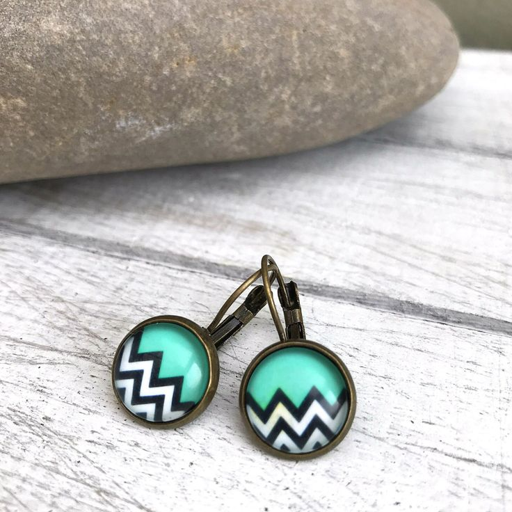 Funky Geo Leverback Earrings, Aztec Style, Retro Wedding, Mint, Black and White Zig Zag, Antique Bronze, Gift for Her, Retro Wedding Gifts by nimmysjewellery on Etsy