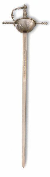 Espada Ropera de Taza con dos tipos de acabados: Rústico o Plata. Empuñadura, cazoleta y la hoja son de acero inoxidable. Certificada Hecha en Toledo