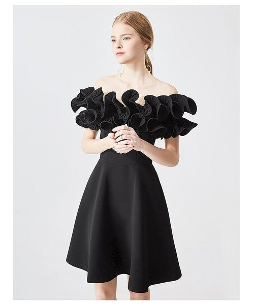 7ee3b6b97f3a Luxury Black ruffled off shoulder dress unique cocktail party lbd dress