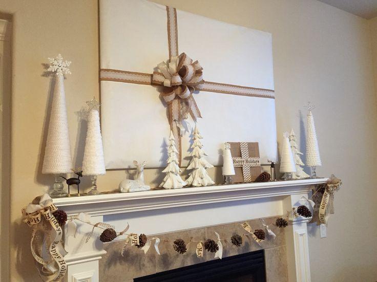 My 2014 Burlap & White Christmas Mantel #pinecones #yarnchristmastrees #jmonteithphotography