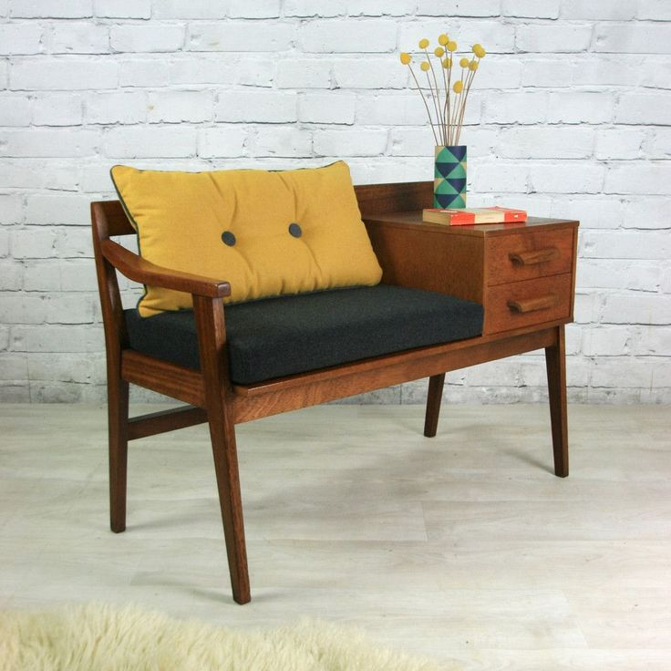 Vintage Teak 1960s Telephone Seat Home Decor Design Furniture
