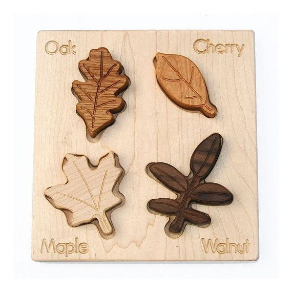 Leaves Puzzle, celebrate Earth Day, eco friendly organic wood puzzle for babies and toddlers,