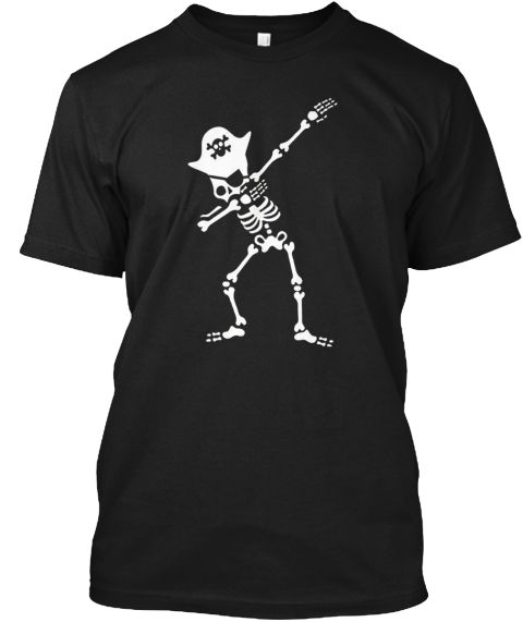 Halloween Dabbing Skeleton Pirate Shirt Black T-Shirt Front