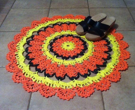 47. Plastic bag rug / 67 cm / Recycled rug / hand by onestroke08