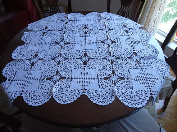Large crochet doily White square handmade crochet by VesArtAtelier