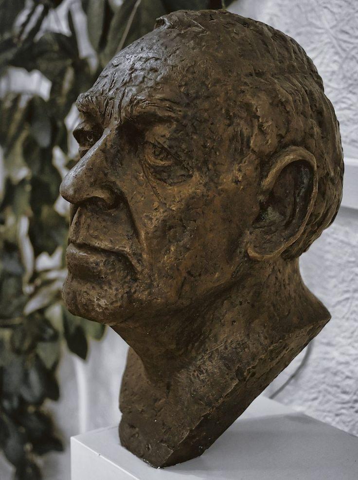 Bronze bust of Alvar Aalto in his studio at Tiilimäki 20, Helsinki on November 22, 2011