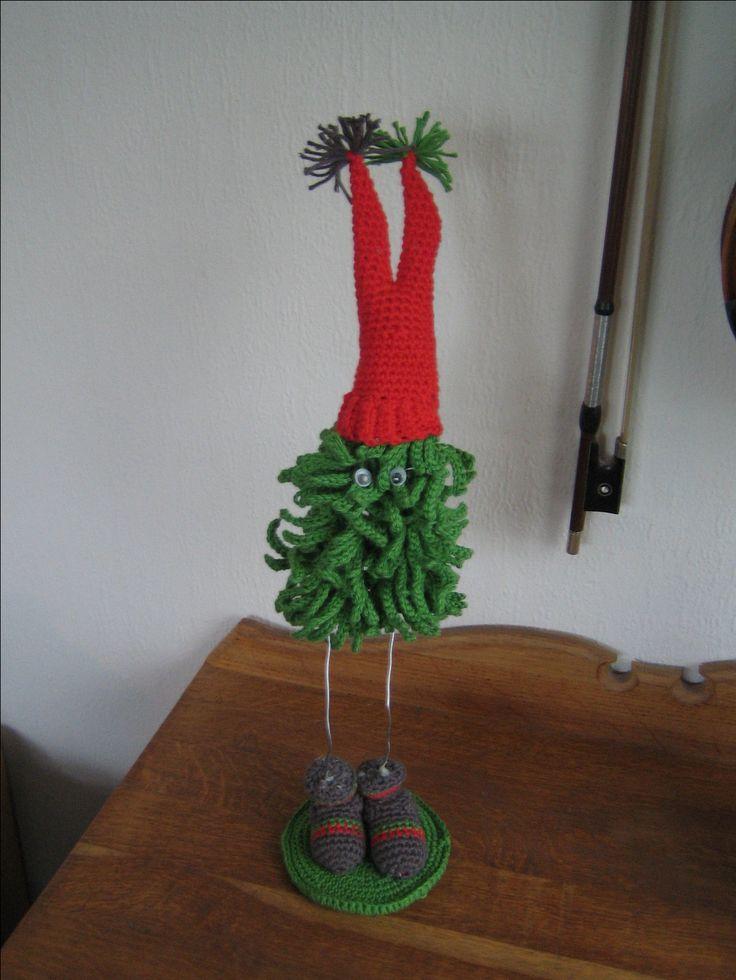 hæklet juletræ med hue Dansk opskrift