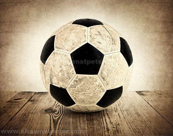 CHRISTMAS in JULY SALE Vintage Soccer Ball on Wood door shawnstpeter
