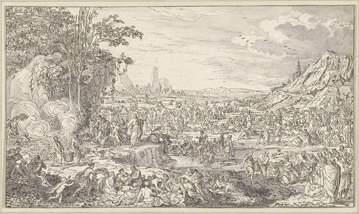 Anonymous   Wonderbare spijziging, Anonymous, 1686 - 1813   Christus laat de broden en vissen van de kleine jongen, die naast hem staat, verdelen over de menigte. De discipelen dragen en verdelen twee aan twee de manden met brood.