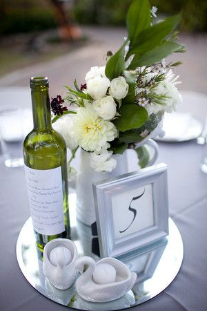 Google Image Result for http://www.startingoutsavvy.com/wp-content/uploads/2011/01/Tablescape.jpg Really think this would fit your theme...the frame could be in gold and your bottle would be clear with the arrangment in the cream, white, and blues. Nice