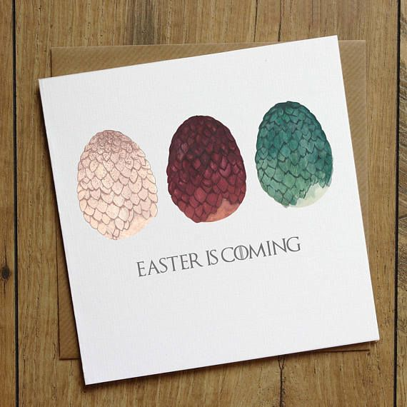 Game of Thrones Card - Easter Card - Easter Egg Card - Dragon Egg Card - Daenerys Targaryen - Happy Easter Card - Easter is Coming - Jessica Scissorhands - Etsy