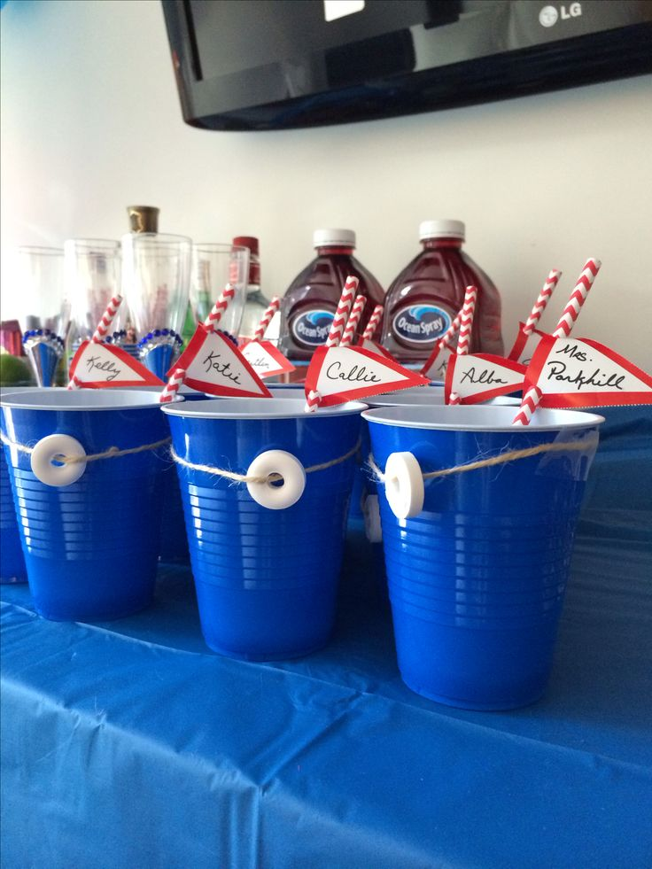 Boat inspired party cups! - last sail before the veil bachelorette