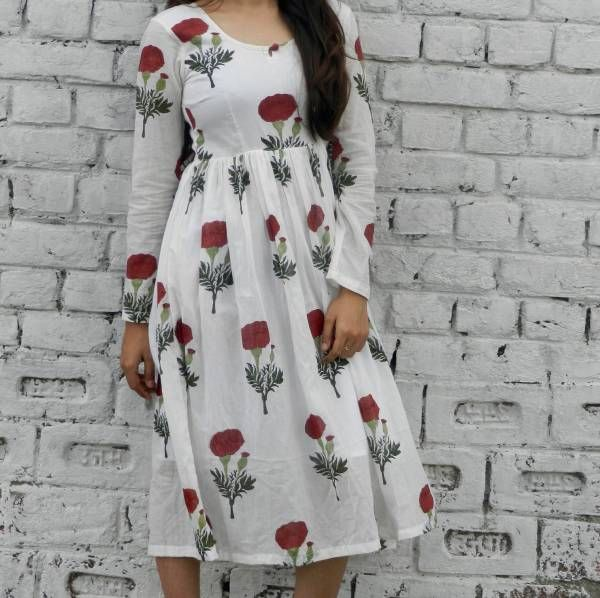 Red mogra block print midi dress  |  Shop now: www.thesecretlabel.com