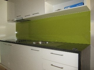 """The """"CHARTREUSE METALLIC"""" splashback colour used in this kitchen has no doubt derived its name from the colour of the French liqueur """"Chartreuse"""". Not only does this Laminex Metaline kitchen splashback resemble the liqueur in colour but like the liqueur, which was originally created as an """"Elixir of Long Life"""", the splashbacks will give your kitchen an easy maintenance long life."""