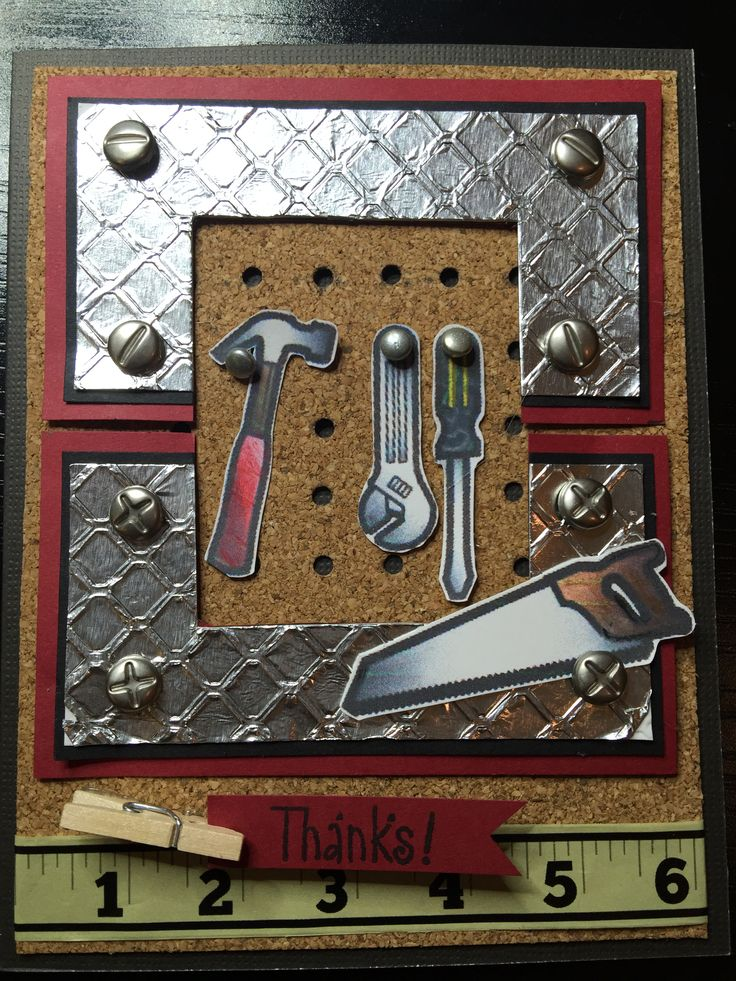 """Thank you card made for Larry, the handyman who built my husband's work shop and shelves for my rubber stamps! Copied design seen here. Masculine, tools, cork, aluminum foil. Measuring tape continues on inside of card and inside sentiment is """"beyond measure"""". May 2015."""