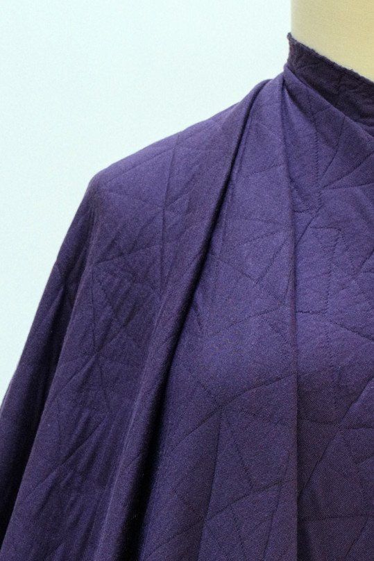 Purple Quilted Double Weave Knit