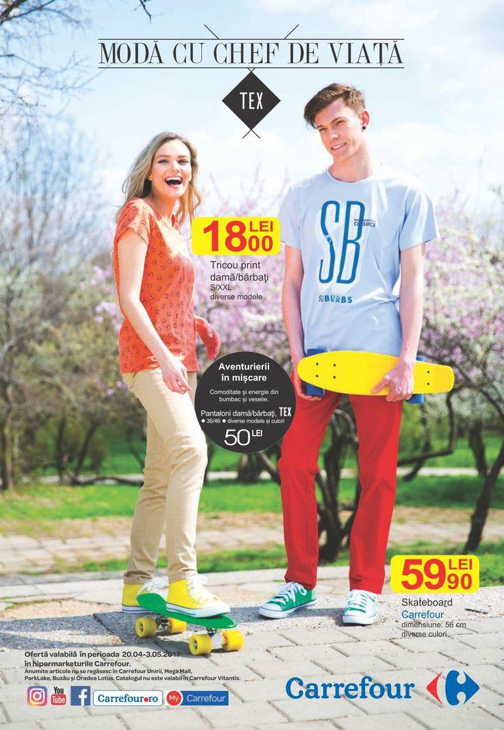 Catalog Carrefour Moda 20 Aprilie - 03 Mai 2017! Oferte: camasa barbati 45,00 lei; pantaloni slim stretch pentru barbati 50,00 lei; espadrile barbati