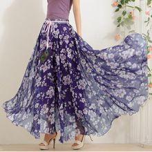 Caliente elegante de lujo estampado de flores de la falda larga mujeres moda pluma del pavo real cintura elástica Ultra largo Big Bottom falda de gasa llena(China (Mainland))