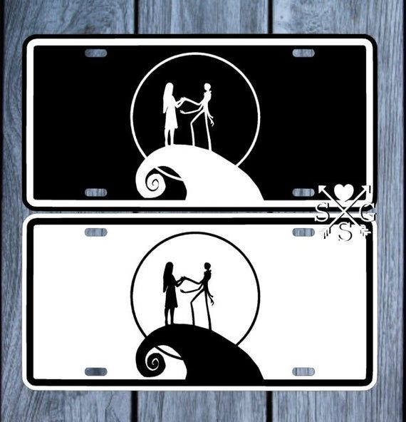 NIGHTMARE BEFORE CHRISTMAS JACK AND SALLY BLACK LICENSE PLATE CUSTOM PERSONALIZE