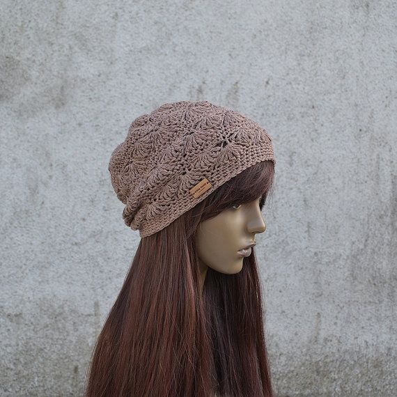 Lacy Crochet Hat in Brown Cool Hat Hippie Hat by acrazysheep