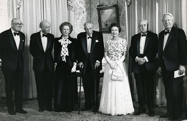 4 December 1985: The Queen poses with Mrs Thatcher and five previous PMs: James Callaghan, Lord Home, Lord Stockton, Harold Wilson and Edwar...