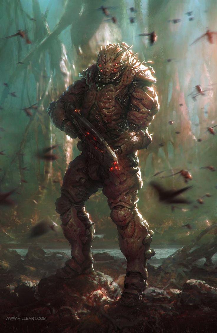Alien Soldier, Ville-Valtteri Kinnunen on ArtStation at https://www.artstation.com/artwork/DzZPn