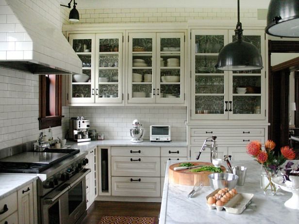 Kitchen ideas - I'd replace the white tile with a light blue: Idea, Kitchens Design, Traditional Kitchens, Glasses Cabinets, White Subway Tile, Subway Tiles, Kitchens Cabinets, White Cabinets, White Kitchens