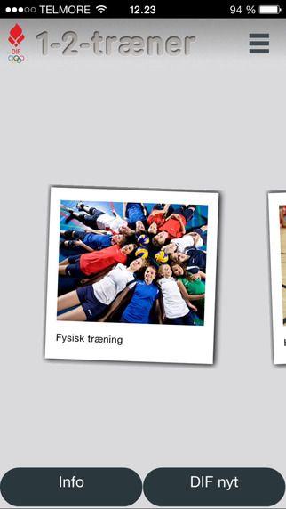 1-2-Træner - app fra DIF Her finder du hurtigt forskellige træningsøvelser...fx til din opvarmning. Alle øvelser ligger som små videoklip hvor hver idrætsgren har sit eget menupunkt. Hver øvelse er samtidig nøje beskrevet, så du får hjælp til at sætte øvelsen i gang og ikke mindst korrigere undervejs. Du får også forslag til, hvordan du kan gøre øvelsen sværere. App'en er opdelt i to typer af videoer: 1)Fysisk træning 2) Idrætterne fx. gymnastik, volleyball