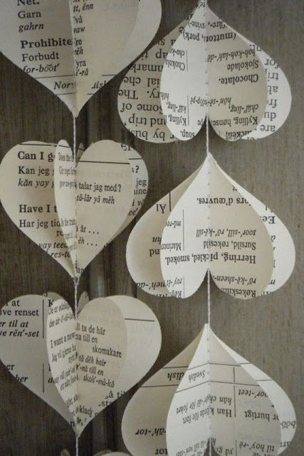 Upcycled Old Book Page Heart Garland