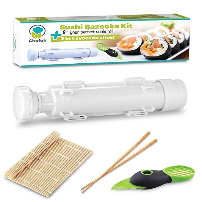 All In One Sushi Making Kit Sushi Bazooka Sushi Mat Bamboo Chopsticks Set 3in1 Avocado Slicer Diy Rice Roller Machine Very Easy To U Sushi Mat Sushi Sushi Maker