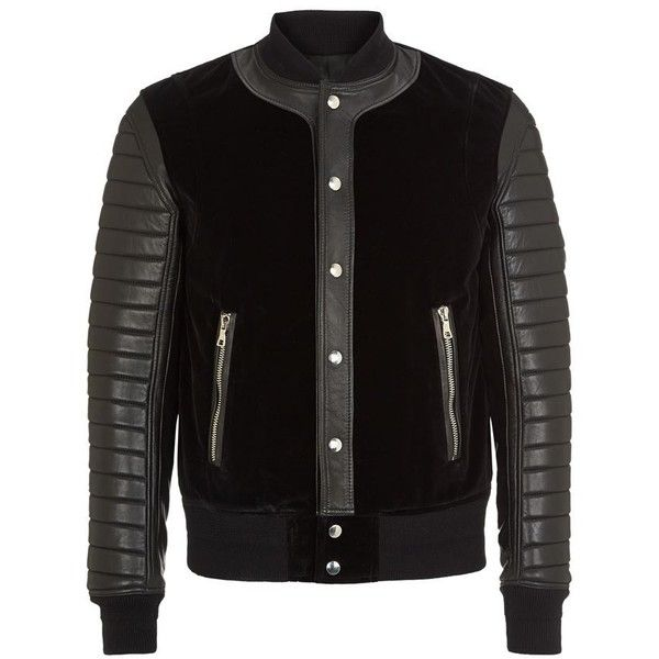 Balmain Velvet Panelled Leather Bomber Jacket (8.585 BRL) ❤ liked on Polyvore featuring men's fashion, men's clothing, men's outerwear, men's jackets, balmain, jackets, mens leather flight jacket, mens velvet jacket, balmain mens jacket and mens quilted leather jacket