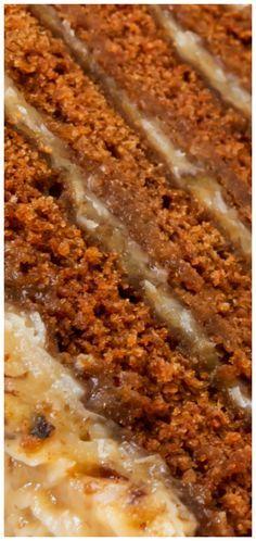 Summer German Chocolate Cake ~ Gooey coconut-pecan frosting is spread between layers of moist chocolate cake.