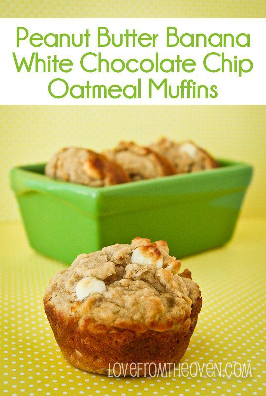 Peanut Butter Banana White Chocolate Chip Muffins