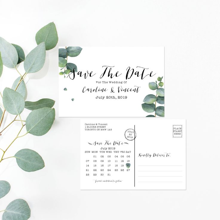 Printable Save The Date -Watercolor Eucalyptus Wedding Boho Save The Date Card - Calligraphy Wedding Postcard - Wedding Greenery Eucalyptus by OnionSisterCreative on Etsy