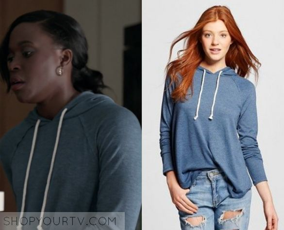 "Shots Fired: Season 1 Episode 6 Kerry's Blue Hoodie | Shop Your TV Kerry Beck (Clare Hope Ashitey) wears this blue hooded sweatshirt in this episode of Shots Fired, ""Hour Six: The Fire This Time"".  It is the Mossimo Drapey Tunic Hoodie."