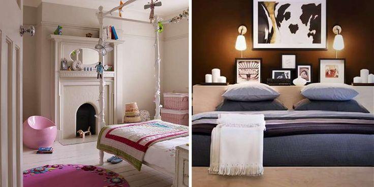 EKSPERTRÅD: Taket malt i en nyanse lysere enn veggene gir en illusjon av mer plass mellom gulv og tak. En hylle bak sengen kan spare deg for å måtte bruke gulvplass til nattbord.