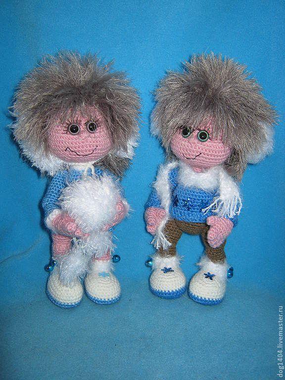 Купить МК по вязанию игрушек Снежные Ангелы - синий, ангелы, игрушка ручной работы